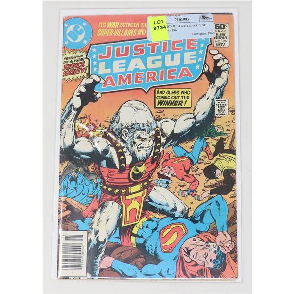 DC COMICS JUSTICE LEAGUE OF AMERICA #196