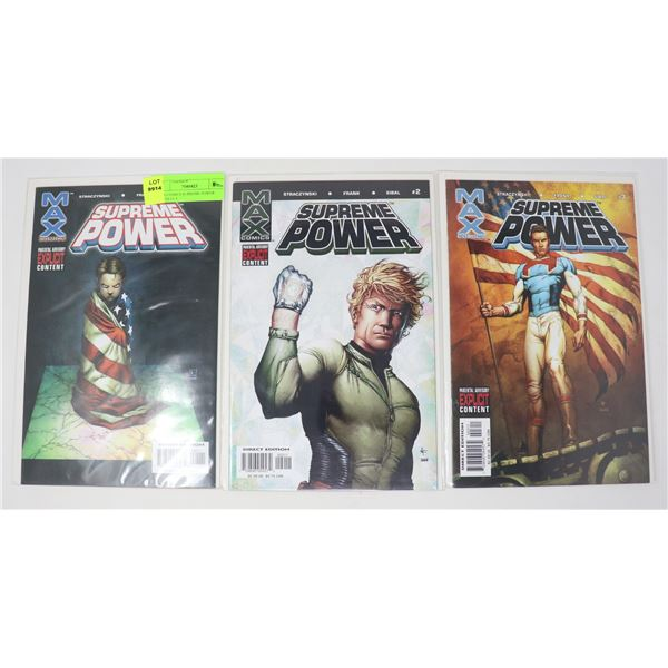 MAX COMICS SUPREME POWER ISSUES #1-3