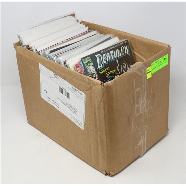 BOX WITH 80-100 ASSORTED COMICS