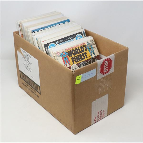 BOX WITH 45 VINTAGE DC WORLDS FINEST COMICS