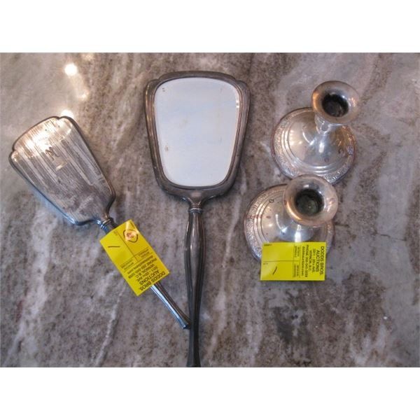 STERLING BRUSH & MIRROR SET & PAIR OF STERLING CANDLE HOLDERS