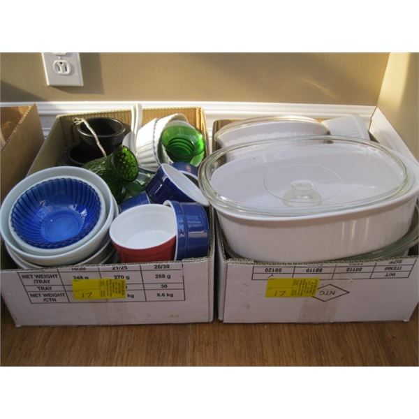 2 BOXES OF ASST. BAKING DISHES, ETC.