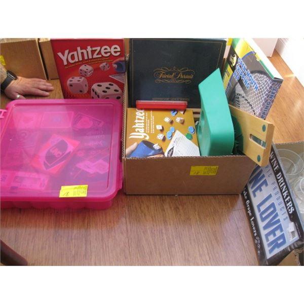 BOX & A BIN OF ASST. GAMES, CARDS, ETC.