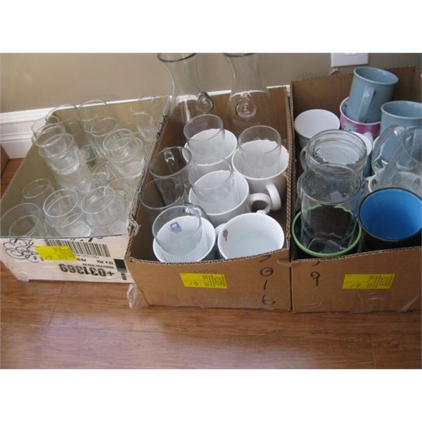 3 BOXES OF MISC. MUGS, GLASSES, ETC.