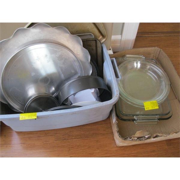BIN & A BOX OF ASST. METAL & GLASS BAKING DISHES & PANS