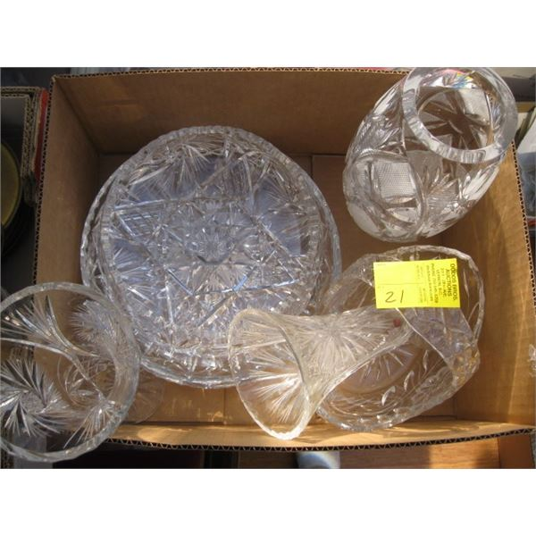 BOX OF ASST. CRYSTAL VASES, BOWL, ETC.