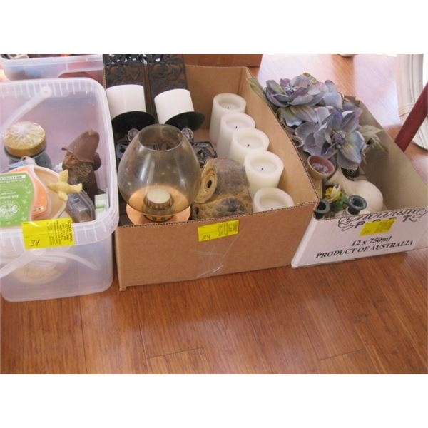 2 BOXES & A BIN OF MISC. CANDLES, CANDLE HOLDERS, ETC.