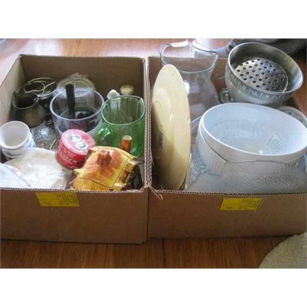 2 BOXES OF MISC. WATER JUG, BOWLS, DEPRESSION GLASS JUG, ETC.