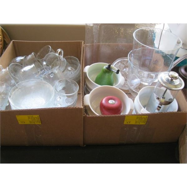 2 BOXES OF MISC. GLASS DISHWARE, SOUP BOWLS, ETC.