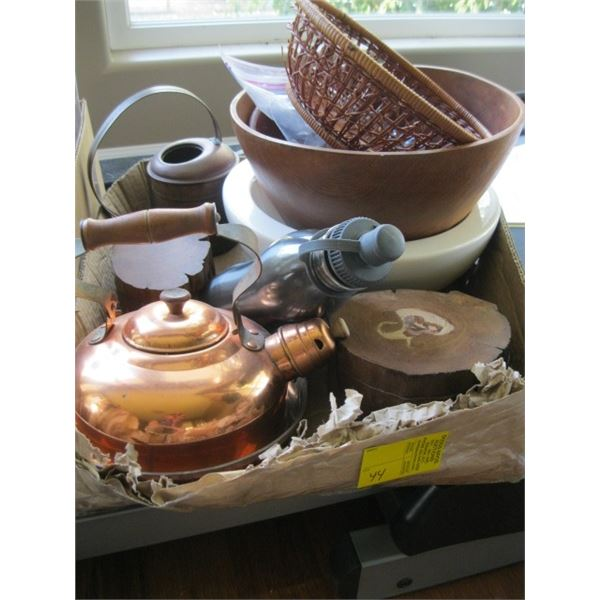 BOX OF MISC. WOODEN BOXES, COPPER KETTLE, WOODEN BOWL, ETC.