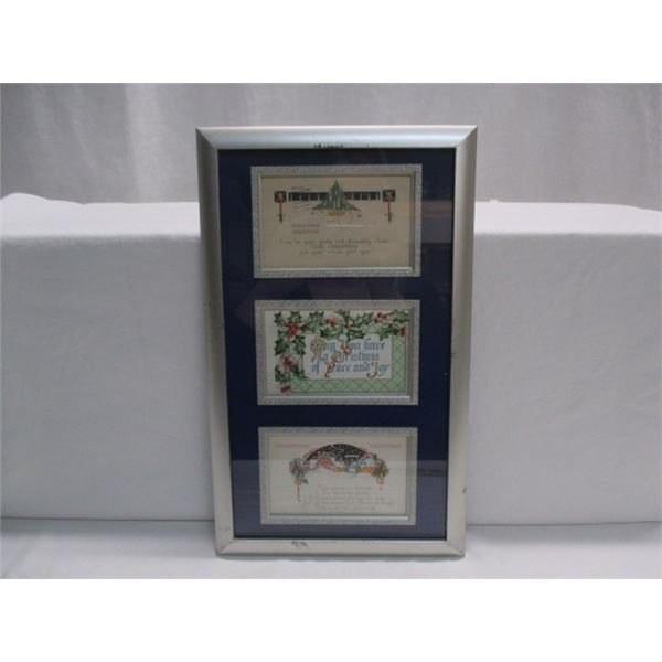 Framed Early 1900's Christmas Greeting Postcards