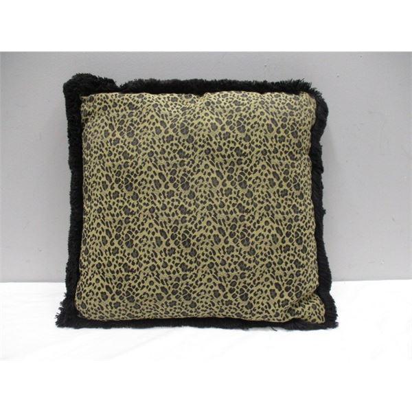 Animal Print Fringed Pillow
