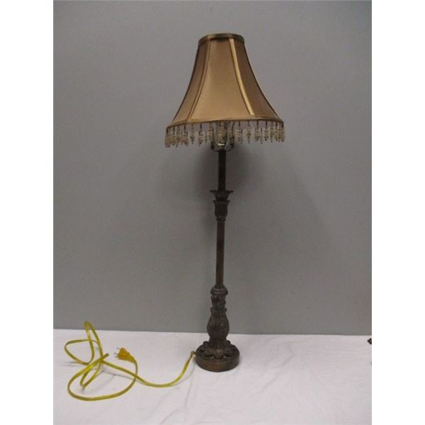 """Modern Lamp With Beaded Fringe Shade 32"""" tall"""