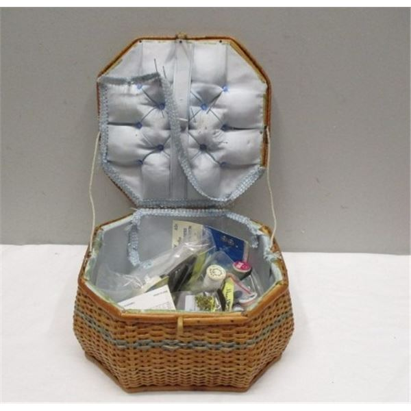 Sewing Basket With Sewing Items
