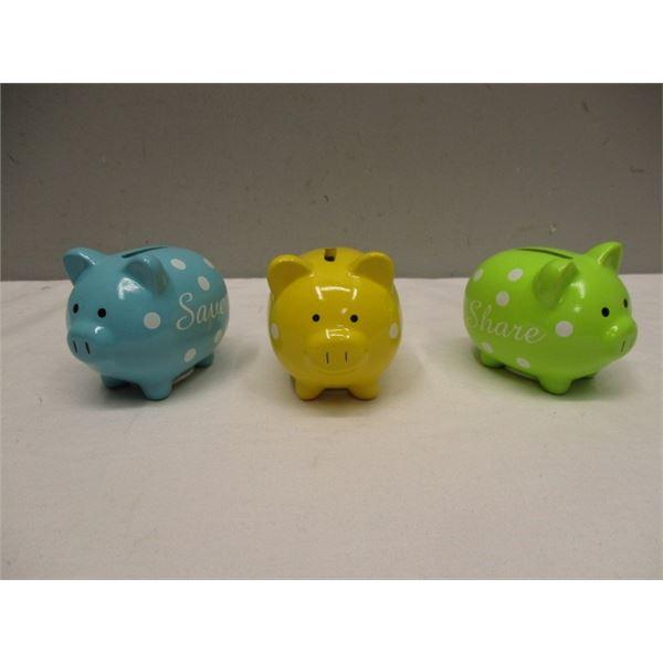 3 Small  Piggy Banks