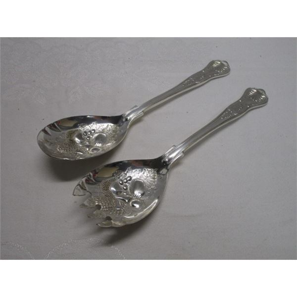Silver Plate Salad Serving Utensils Made in Italy