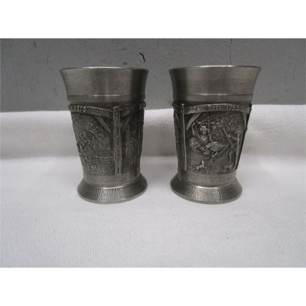 Set of 2 SKS Zinn Pewter Cups