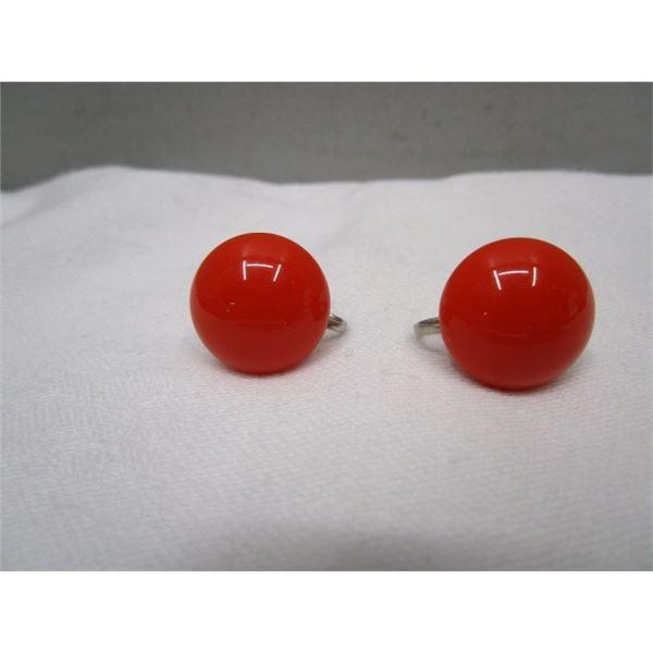 Vintage Orange Screw On Stud Earrings