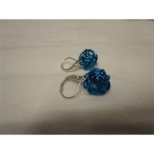 Pierced Blue Wire Wrapped Earrings