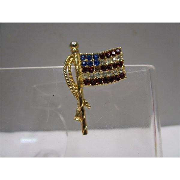 Crystal US Flag Brooch Pin