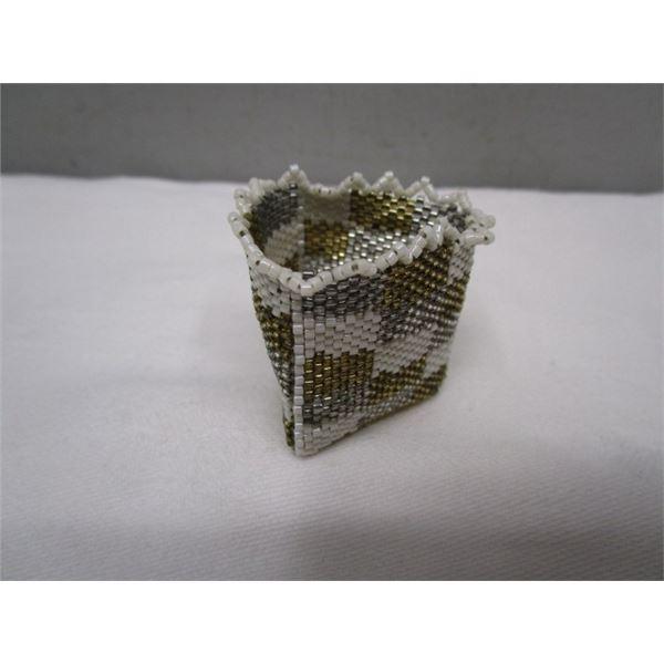 Small Glass Beaded Basket