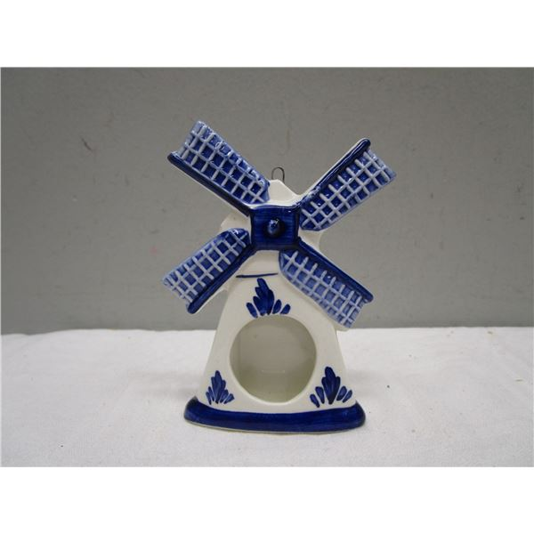 Handpainted Delft Blue Picture Frame Windmill