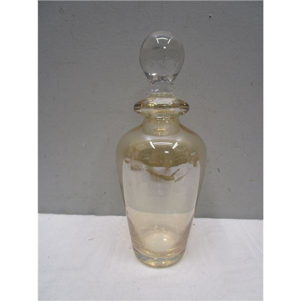 Iridescent Marigold Glass Bottle With Stopper