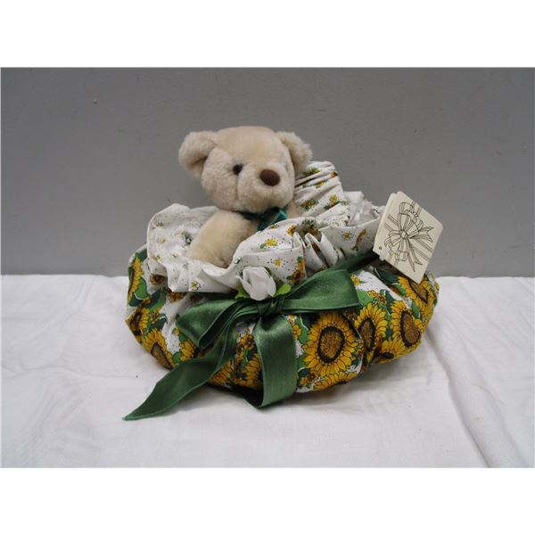 Vintage Teddy Bear in  Basket with Tag