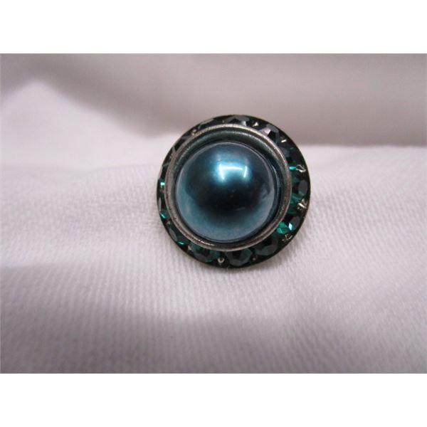 Crystal Blue Brooch Pin