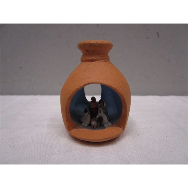 Miniature Nativity Scene inside Clay Pot