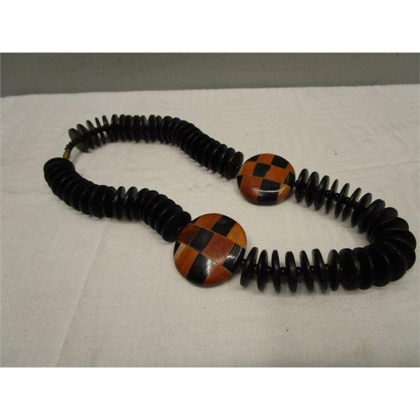 "Vintage Wood Bead Necklace 20"""