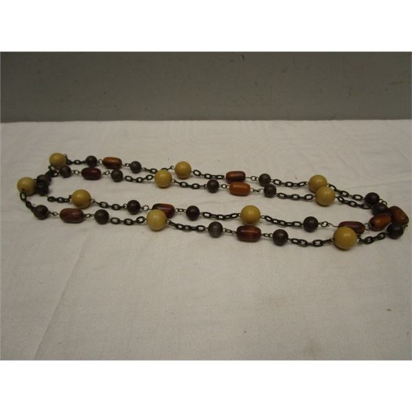"""Wooden Bead Chain Necklace 48"""""""