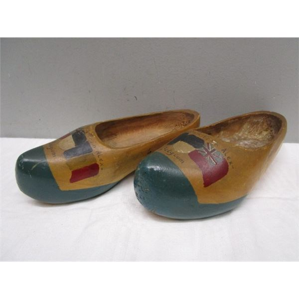 Hand Carved Painted Wooden Clogs Belgium