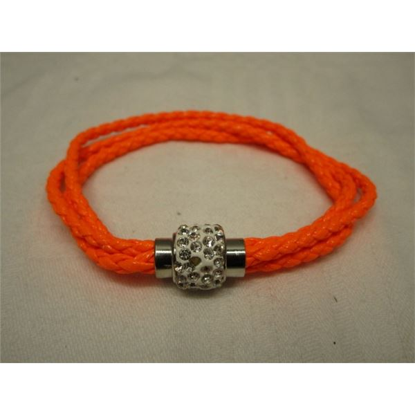 Magnetic Crystal Clasp Orange Leather Bracelet