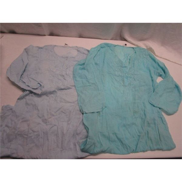 Two Cotton Tunics with Side Slits Size Medium