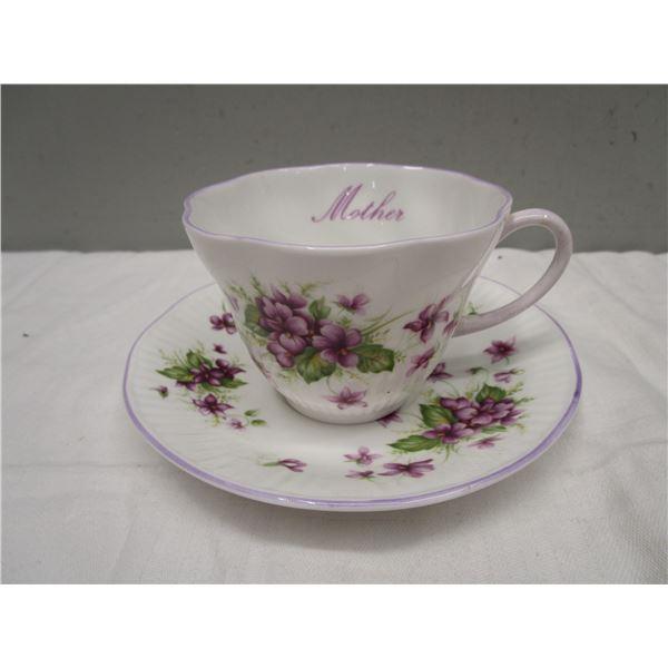 Rosina Tea Cup & Saucer Violets MOTHER
