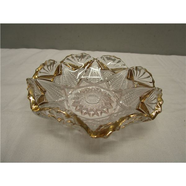 Pressed Glass Serving Dish With gold trim