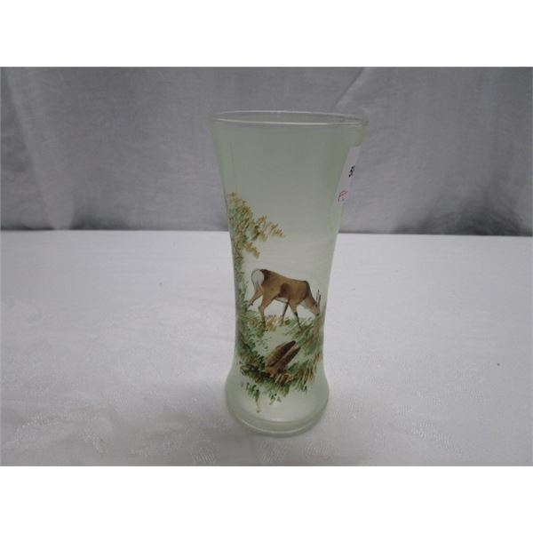 Vintage Frosted Glass Vase with Hand Painted Deer