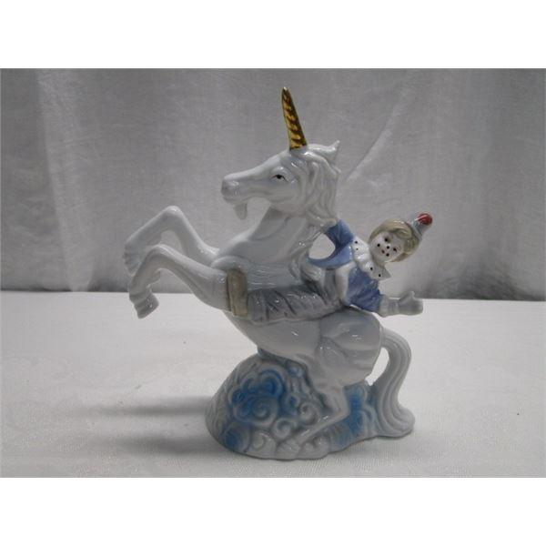 Vintage 1980's Clown on Unicorn Figurine