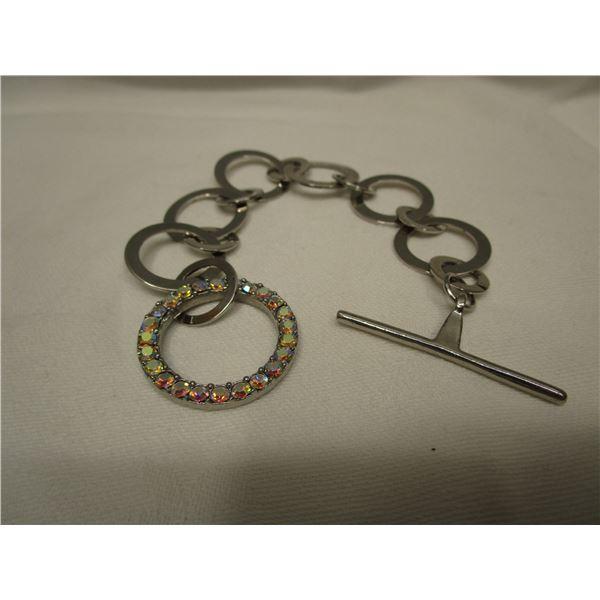 Silvertone Bracelet with Aurora Borealis