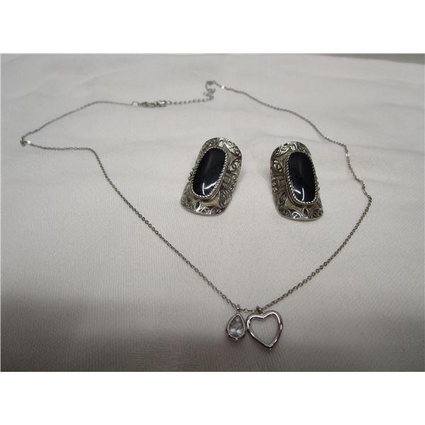 """Pierced Earrings & 20"""" Necklace Lot"""