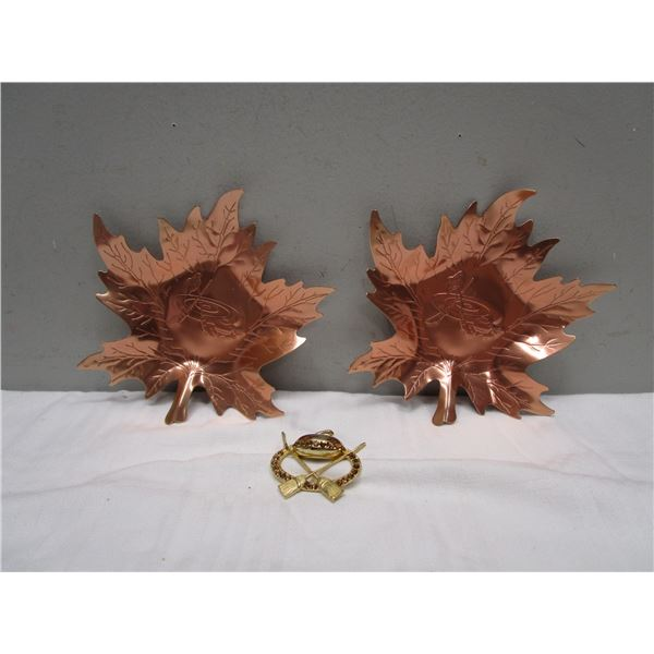 Curling Themed Maple Leaf Ashtrays and Brooch Lot