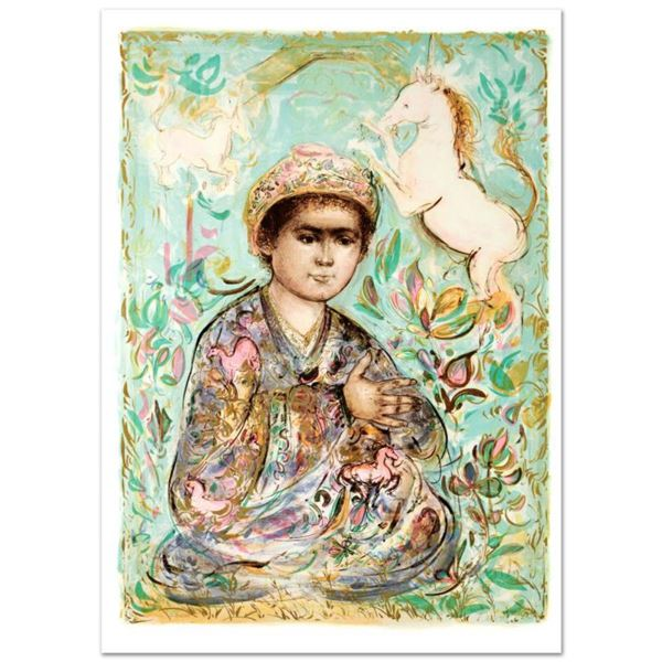 """""""Little Rajah and the Unicorns"""" Limited Edition Lithograph (29.5"""" x 41.5"""") by Edna Hibel (1917-2014)"""
