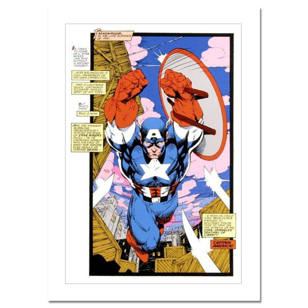 """Marvel Comics, """"Captain America, Sentinel: Uncanny X-Men #268"""" Numbered Limited Edition Canvas by Ji"""