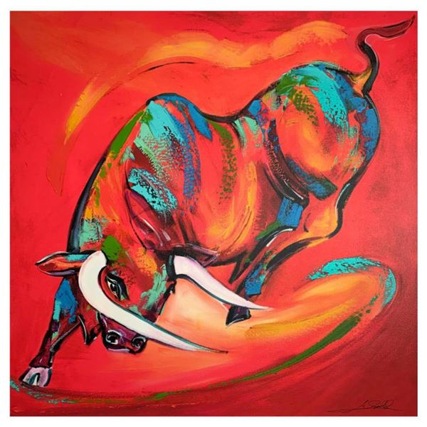 """Alfred Gockel, """"Coloured Bull"""" Hand Signed Limited Edition on Canvas with Letter of Authenticity."""