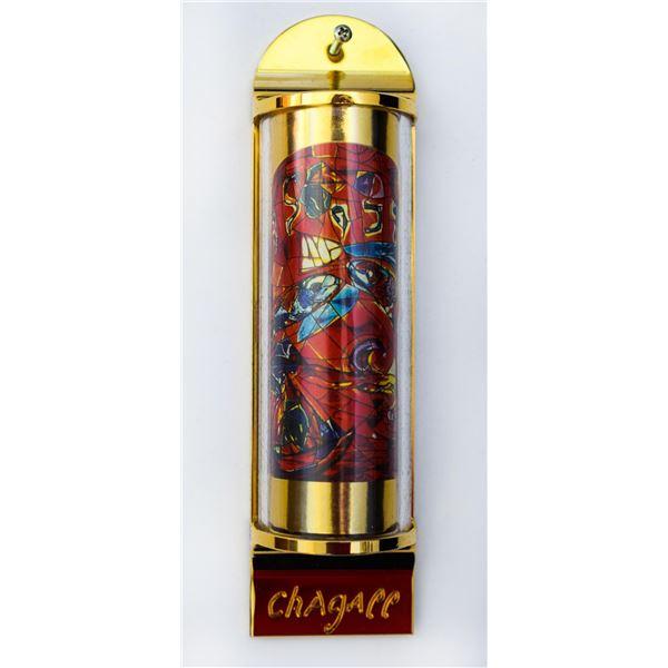 """Marc Chagall - Mezuzah - silkscreen on 24K gold plated bronze """"12 Tribes Hadassah Windows - Zebulun"""""""