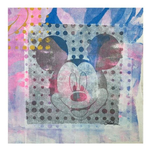 """Gail Rodgers, """"Mickey Mouse"""" Hand Signed Original Hand Pulled Silkscreen Mixed Media on Canvas with"""