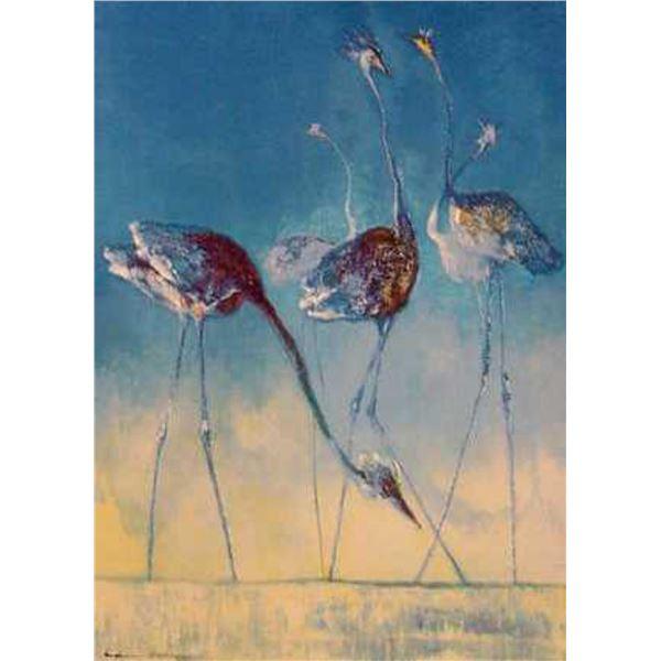 "Edwin Salomon- Original Serigraph ""Blue Birds"""