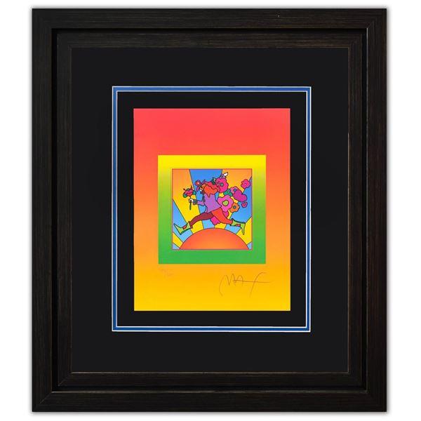 "Peter Max- Original Lithograph ""Flower Jumper over Sunrise on Blends II"""