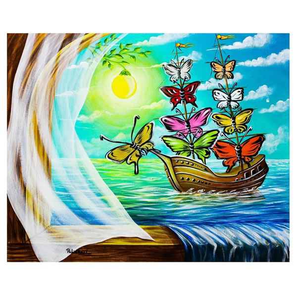 "Eugene Poliarush- Original Oil on Canvas ""Sailboat to Europe"""